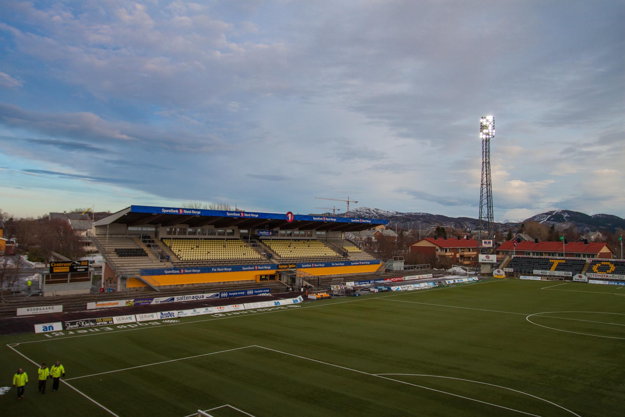 Aspmyra stadion, het stadion van FK Bodø/Glimt