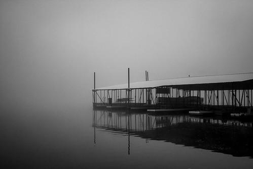 blackandwhite bw lake monochrome fog canon blackwhite dock foggy lakeoftheozarks t3i