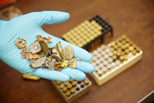 Seized – Bullet fragments kept in the armoury | by West Midlands Police