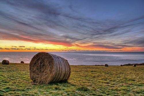sunrise hdr isleofman haybale photomatix
