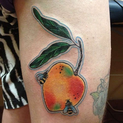 mango and bees on @adamtattoo !! thanks dude !! always wan ...