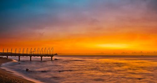 sunrise beach ocean sea water pier