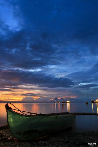 sunset sea boat 186 fishingboat