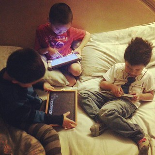 These days kids have ipads/iphones and play minecraft with each other via network.. pretty crazy #thefuture #minecraft #ipad #kidsthesedays #thanksgiving | by Vethod