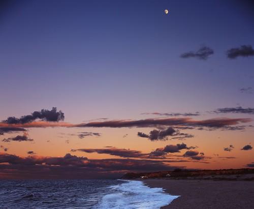 ocean sunset sea sky moon beach night clouds speed landscape fuji graphic kodak wave provia f25 graflex 100f pacemaker aeroektar 178mm pwpartlycloudy