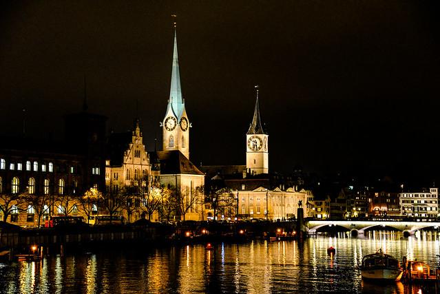 Fraumünster, St Peterskirche and Limmat River in Zurich Switzerland at Night