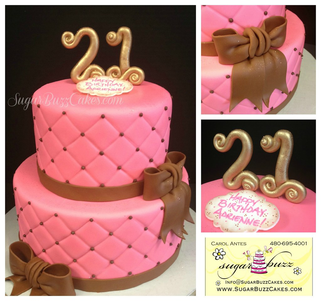 Outstanding Pink Brown Quilted 21St Birthday Cake Hot Pink Quilted F Flickr Birthday Cards Printable Inklcafe Filternl