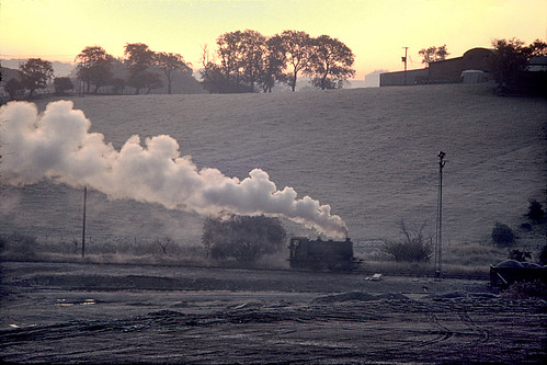 industry film sunrise dawn frost industrial hoarfrost glasgow engine railway loco olympus steam kodachrome coal om2 barclay colliery ncb 040st bedlay