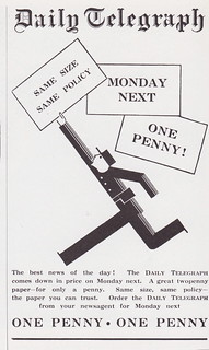 """Daily Telegraph - One Penny!"" - press advert designed by W S Crawford's agency, London, c1929"