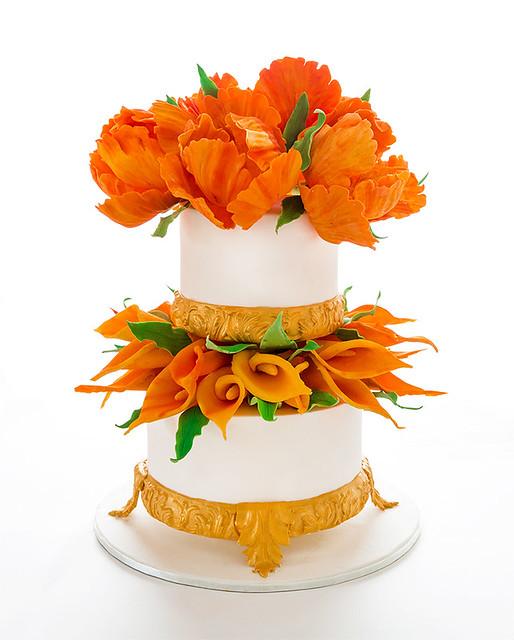 Orange Parrot tulip/Calla Lily Wedding Cake
