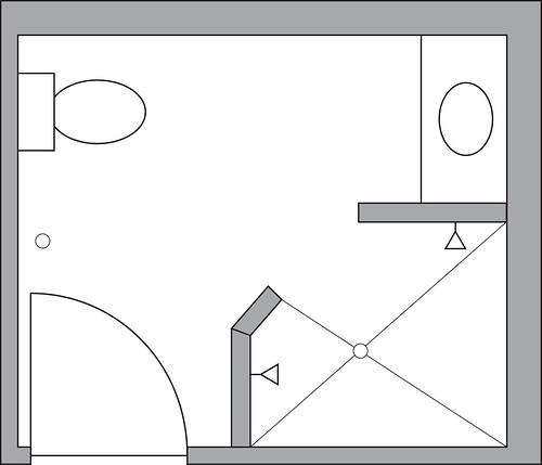 Master Bathroom before   by Design Nomad