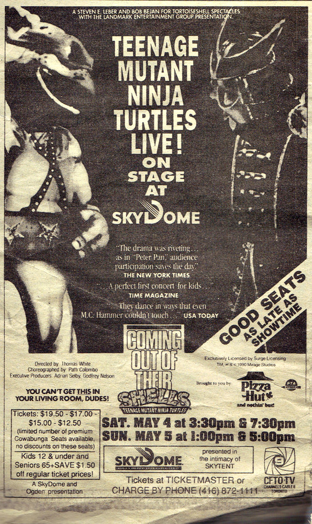 The Toronto Sun :: Friday May 3,1991 ENTERTAINING TO; 'Teenage Mutant Ninja Turtles - Coming Out of Their Shells Tour' ..spot ad   (( 1991 )) by tOkKa