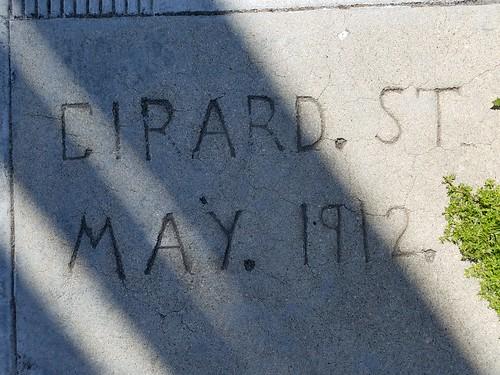 Sidewalk Concrete Street Marker - Girard St May 1912