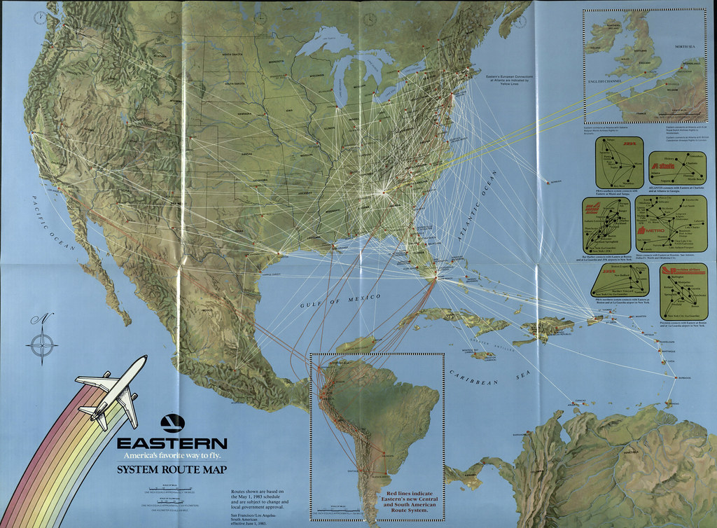 Airline Maps — Eastern system route map, 1983 The Eastern Air...