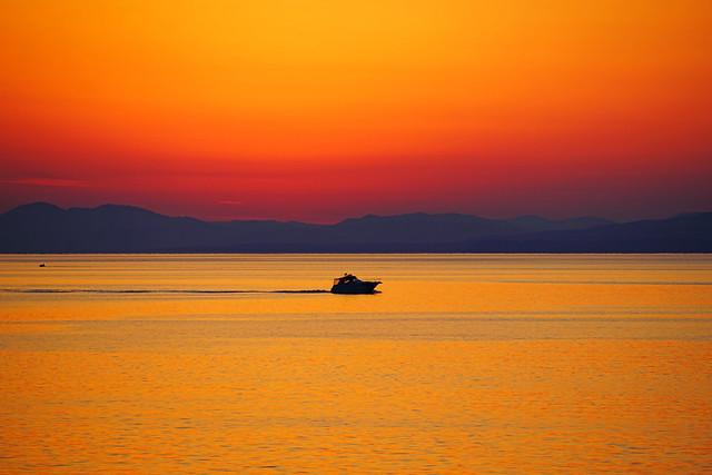 Crossing the bay at sunset, Vladivostok, Russia