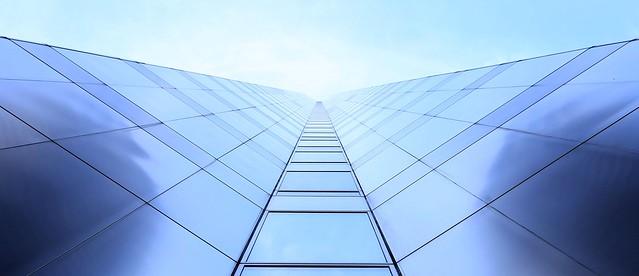 Looking up the Hyatt Center in Chicago