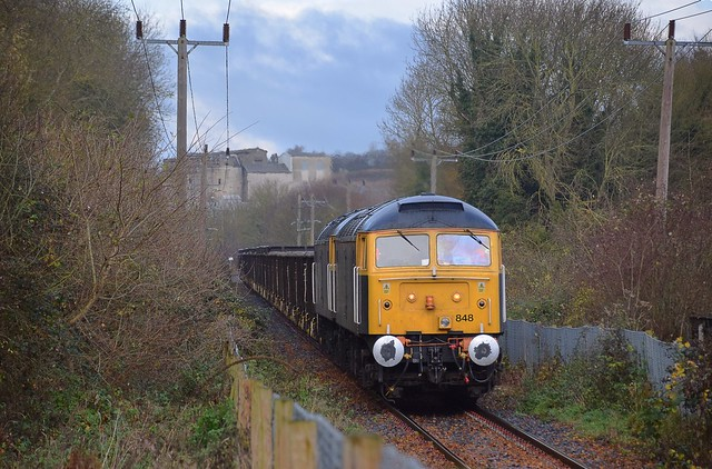 Rail Operations Group 47848 & 47815 slowly draw the spoil empties along the Barrington Light Railway, on the first stage of the journey to Wembley, London. The former Cement Works can be seen in the background. 29 11 2017