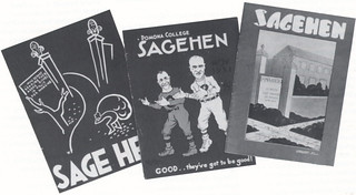 Cover images of the Sagehen, a humor magazine put by students from 1923 to 1957