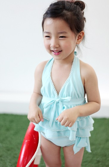 89cc8d183bd98 Blue Little Girls Ruffle Swimsuit | Blue Baby Girl Swimsuit,… | Flickr