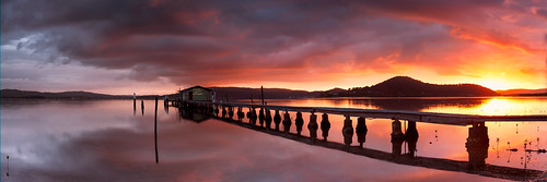 red water clouds sunrise pier pano jetty shed australia panoramic wharf nsw newsouthwales redsky centralcoast boatshed koolewong brucehood