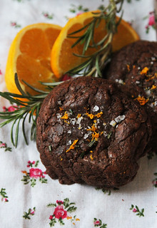 molten chocolate cookies with sea salt, rosemary, and orange zest | by reading my tea leaves