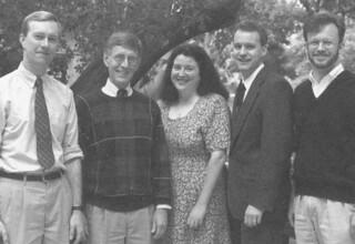 1995 Wig Distinguished Professors: Michael Kuehlwein, Edward Copeland, Teresa Strecker, Christopher Rohlman, Eric Miller, Michelle Wierson (not shown), Samuel Yamashita (not shown)
