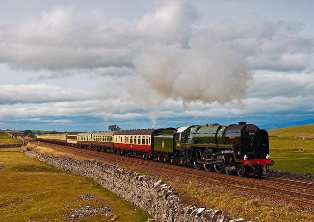 70000 'Britannia' heads south past Waitby