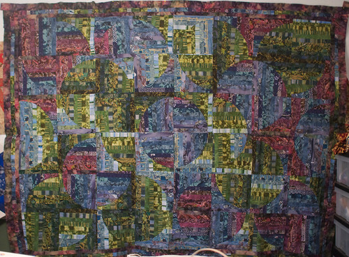 This was actually the second quilt top I ever worked on, but I never finished it. It's not perfect, but sitting on my shelf doesn't do it -- or a friend -- any good.  It will be my 42nd quilt finished, and I'm thinking this is my one chance for a Hitchhiker's-named quilt.