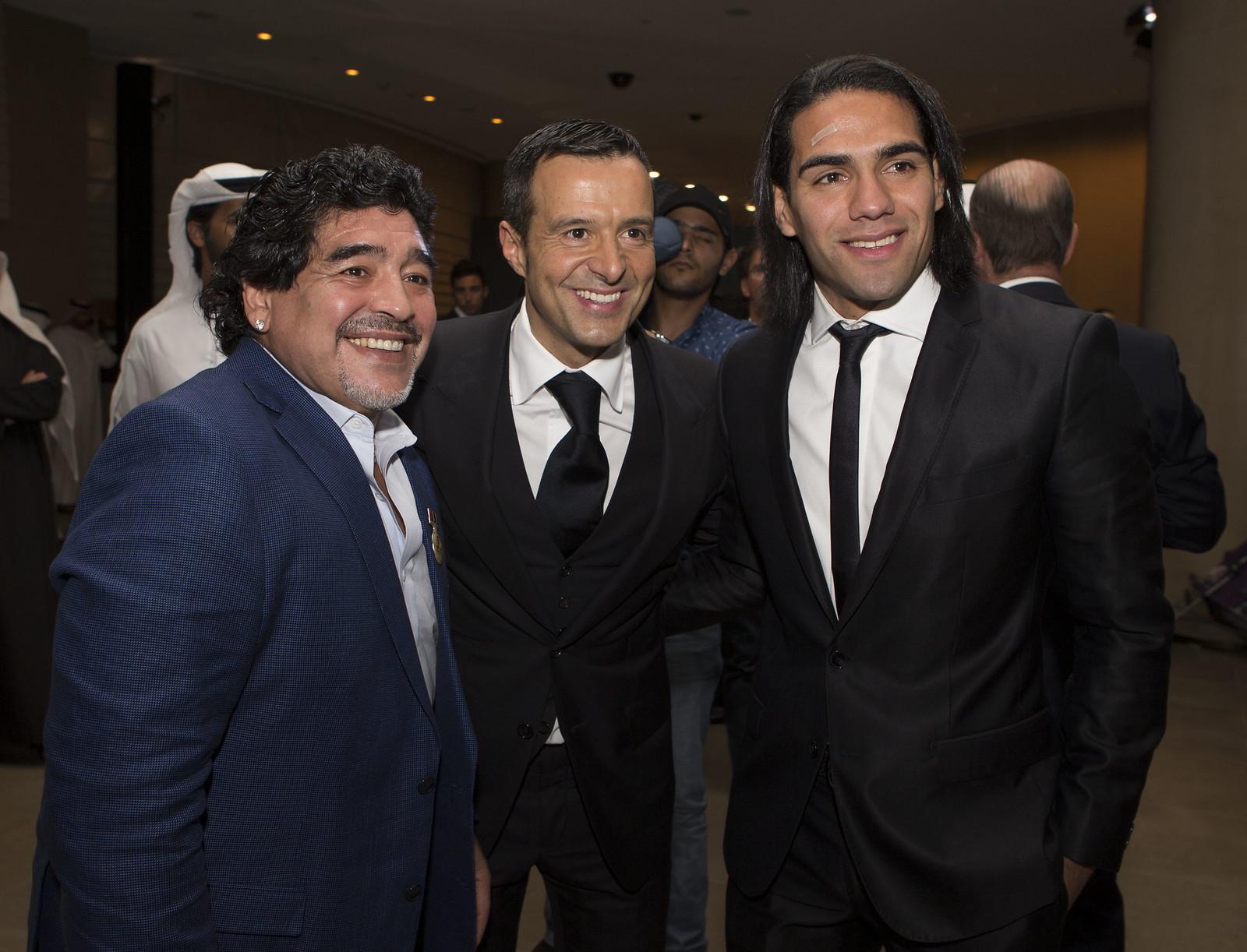 Diego Armando Maradona, Jorge Mendes and Radamel Falcao