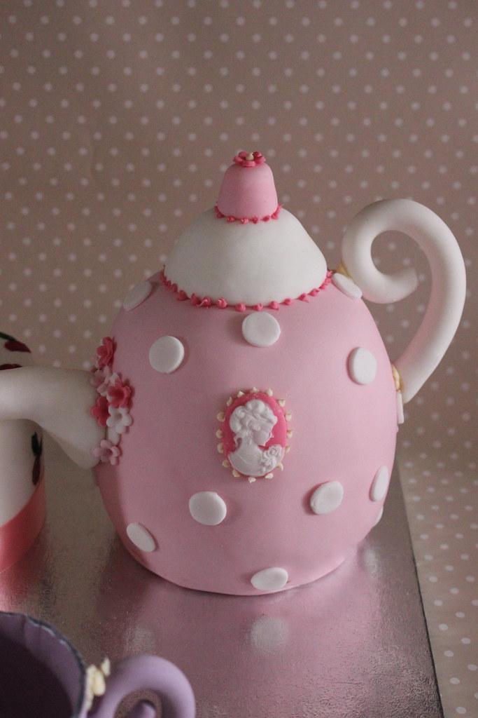 Brilliant Shabby Chic Teapot Cups And Saucers Birthday Cake Shabby C Flickr Personalised Birthday Cards Vishlily Jamesorg