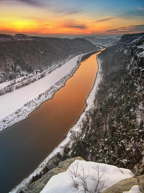 Golden sunset above river Elbe