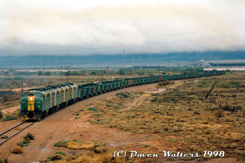 GM46 GM40 GM38 GM45 1129 Empty Leigh Creek Coal Northern Power Station 17 04 1998 by Daven Walters