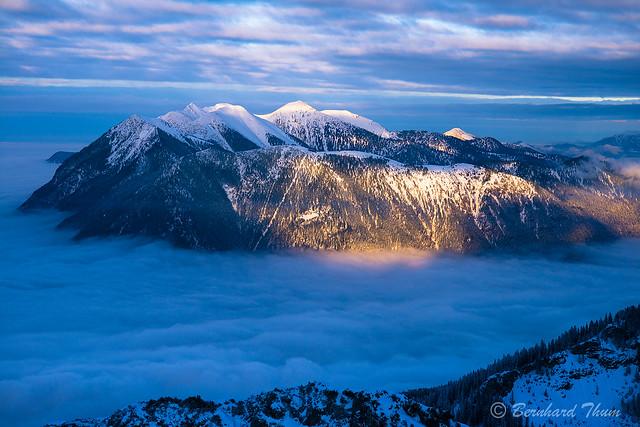 Sea of clouds over Garmisch with Estergebirge