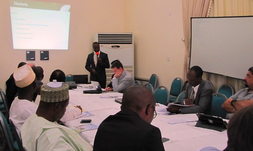 Mr Innocent Okuku of Notore Fertiliser making a presentation at the workshop | by Propcom Mai-karfi