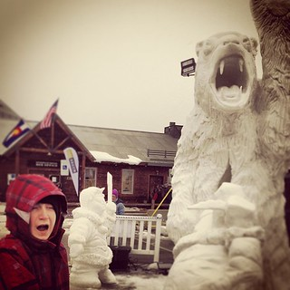 Team Yukon carved a very vivid mythological tale for the Breck Snow Sculpture competition of a grandfather eaten by a polar bear who fought his way out ...terror simulated by my son! | by elysianstudiosart