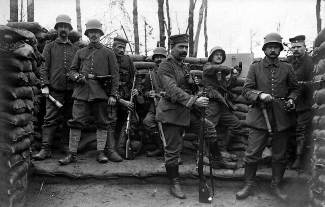 Well armed soldiers of the Landwehr-Infanterie-Regiment Nr. 80 in a forward position in the Vosges mountains
