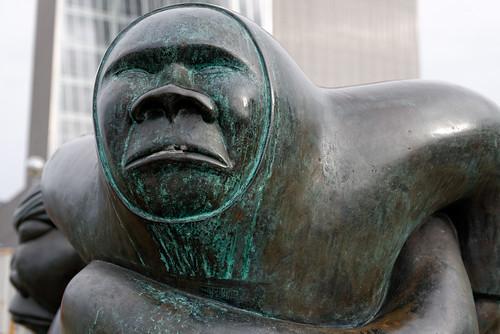 sunset sculpture face modern bronze greenland d800 nuuk nuukcenter kaassassuk