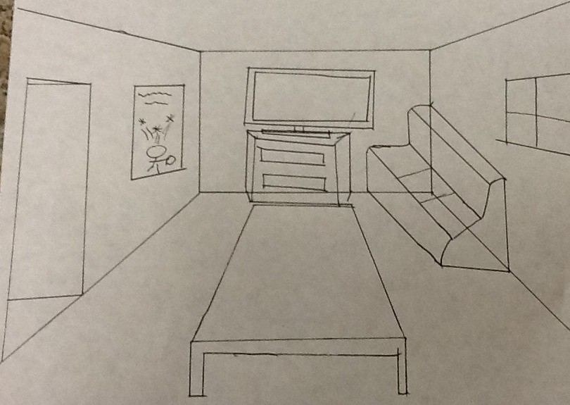 Madison Pd. 1 one point perspective living room | I am most ...