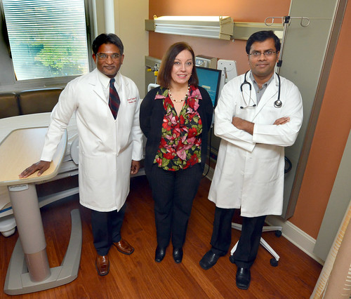 Dr. Anand Jillella (from left), Kim Cheely and Dr. Vamsi Kota