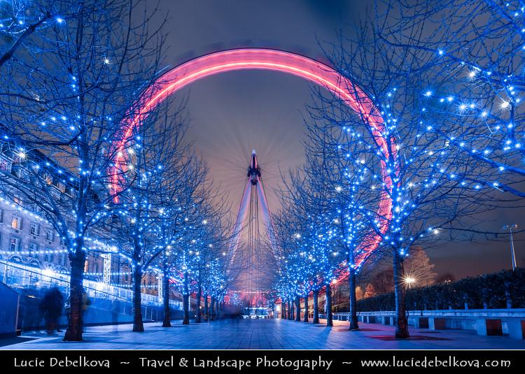 England Christmas.Uk England London London Eye Millennium Wheel Du