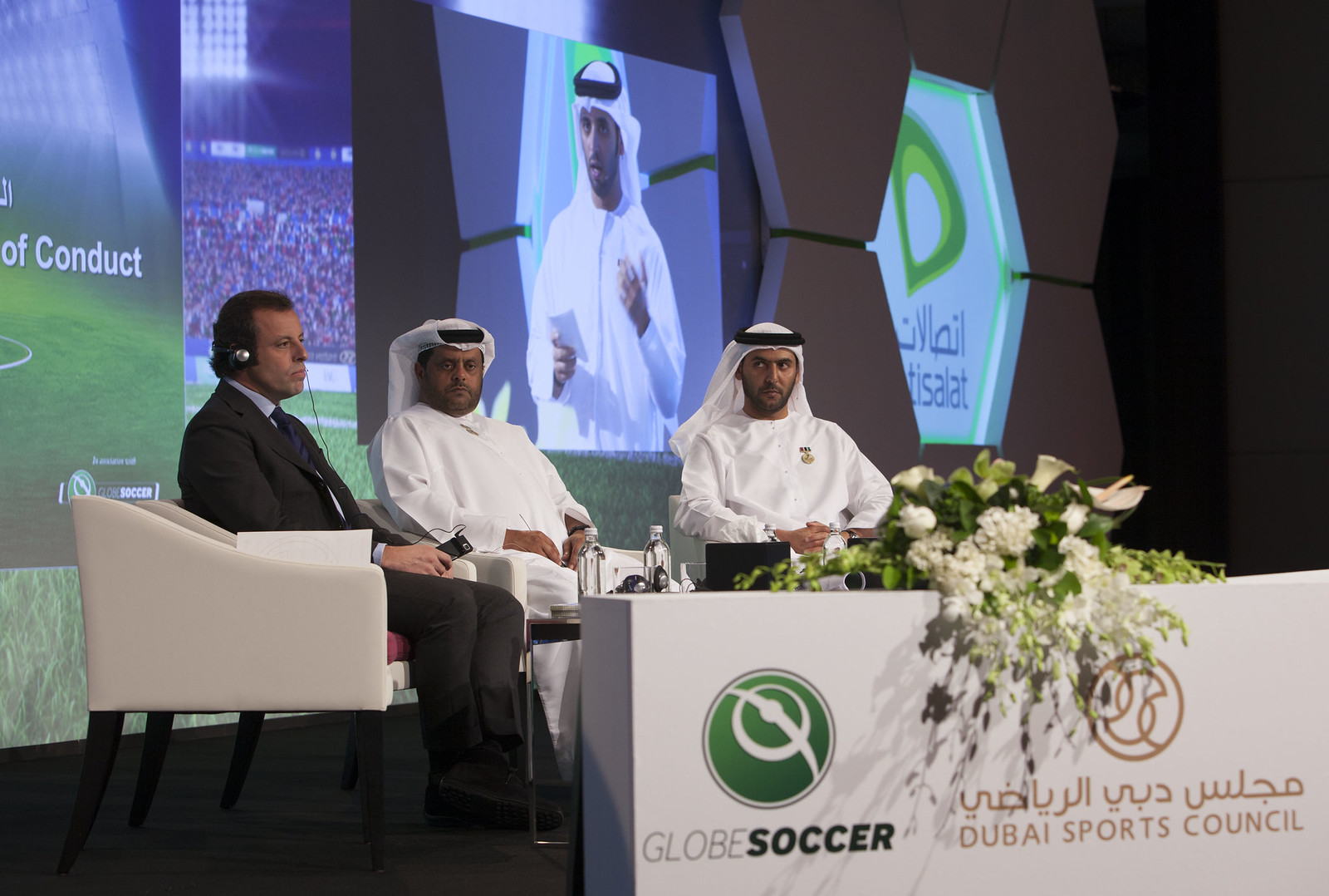 Sandro Rosell, Mohammed Thani Al Rumaithi and Abdullah Al Nabooda