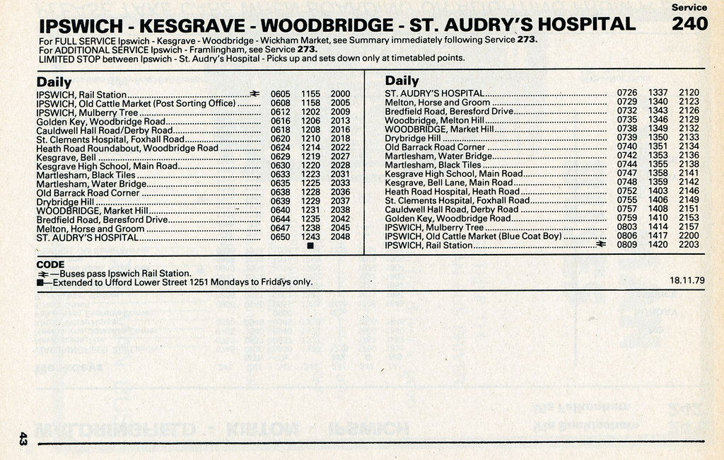 035afa36332 ... Eastern Counties Bus Timetable - SERVICE 240 - Ipswich to St Audry's  Hospital - November 1979