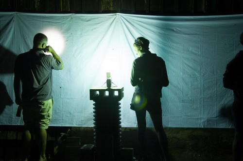 a man and woman stand in front of a sheet that is tacked to a wooden barn. Insects are on the sheet, attracted to the light cast from a nearby Mercury-vapor bulb