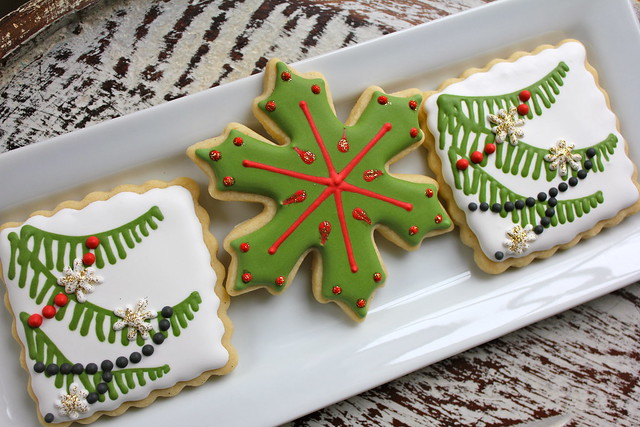 tree bough and snowflake cookies