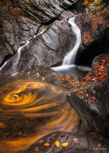 autumn leaves waterfall vermont hiking canon5d swirls 1740l jamaicastatepark adambaker