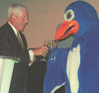 In 2001, Campaign Chair Frank Ulf '53 toasted the end of the successful Campaign for Pomona College with Cecil Sagehen