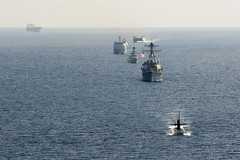 In this file photo, U.S. Navy and Indonesian Navy ships maneuver into formation in the Java Sea during last year's CARAT exercise. (U.S. Navy/MC2 Will Gaskill)