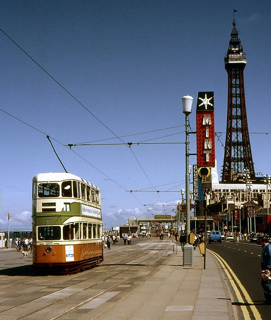 Glasgow Tram 1297 operating in Blackpool, June 1985
