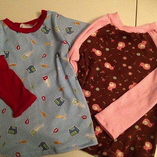 My goal for this morning is to get pictures of these two raglan shirts on the baby and then list them.