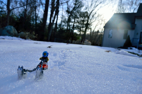 nikon d3200 adventurerjoe project365 lego huskie sled snow winter cold sunset sun outside outdoors flare house trees